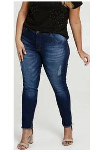 Calça Feminina Jeans Puídos Skinny Plus Size Biotipo
