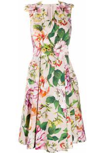 Dolce & Gabbana Vestido Midi Com Estampa Floral - Rosa