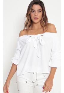 Blusa Ciganinha Com Amarração- Branca- Ennaenna