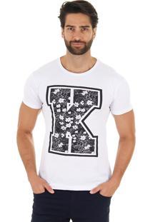 Camiseta Floral Masculina Maidale - Branco