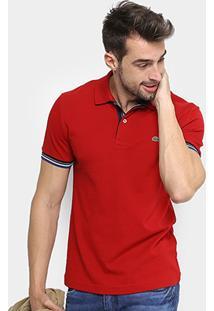 Camisa Polo Lacoste Piquet Slim Fit Frisos Manga Masculina - Masculino