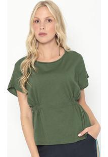 Blusa Com Franzidos- Verde Escuro- Colccicolcci