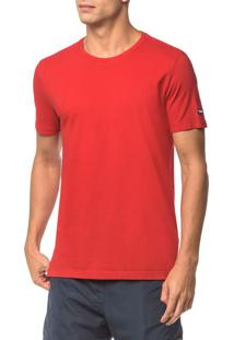 Camiseta Ck Swim Mc Etiqueta Manga - Vermelho - G