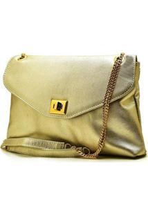 Bolsa Metalizada Hendy Bag Feminina - Feminino-Dourado