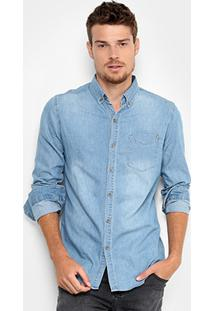 Camisa Jeans Broken Rules Com Bolso Masculina - Masculino