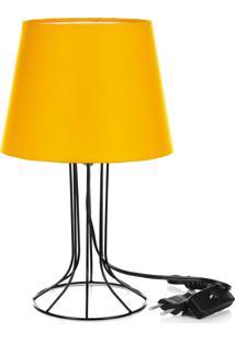 Abajur Torre Dome Amarelo Com Aramado Preto - Amarelo - Dafiti