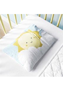 Fronha Bebê Nuvem De Algodão E Sol Azul Grão De Gente Azul