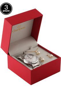 Kit 3 Pçs Relógio Champion Cn27797B Prata/Dourado