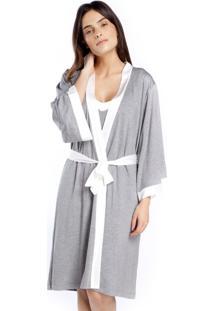 Robe Midi Mescla E Cetim Off White - Cinza/Off-White - Feminino - Viscose - Dafiti