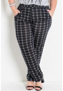 Calça Comfort Plus Size Com Bolsos Xadrez