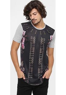Camiseta Local Gola Careca Full Print Rosas Long - Masculino