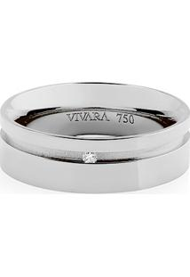 e4d6d989aac Aliança De Casamento Ouro Branco E Diamante (6Mm)