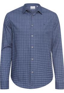 Camisa Masculina Slim Geneva Xadrez Maquinetado - Azul