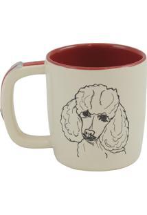 Caneca Pet Poodle 350Ml Cerâmica Creme E Vermelho Mondoceram