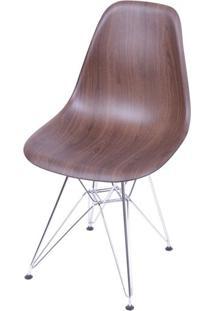Cadeira Eames Polipropileno Amadeirado Escuro Cromada - 40597