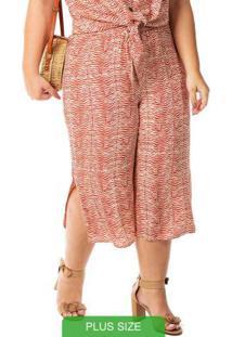 Calça Plus Size Estampa Rotativa Marrom Habana