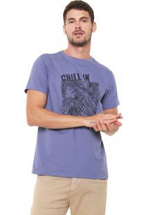 Camiseta Yachtsman Manga Curta Estampada Azul