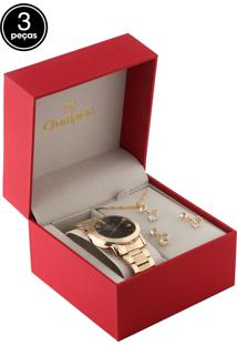 Kit 3 Pçs Relógio Champion Cn26618C Dourado