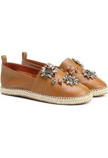 Alpargata Couro Shoestock Pedrarias Feminina - Feminino