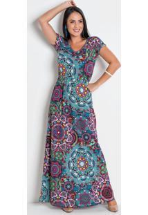 Vestido Longo Mandala Com Decote Em V