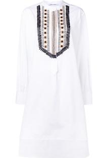 Alberta Ferretti Vestido Com Aplicações - Branco