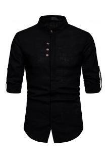 Camisa Masculina Gola Mandarim Design Abotoado Frontal Manga Longa - Preto