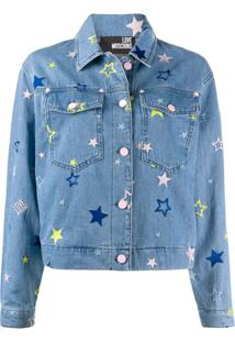 Love Moschino Jaqueta Jeans Com Bordado De Estrela - Azul