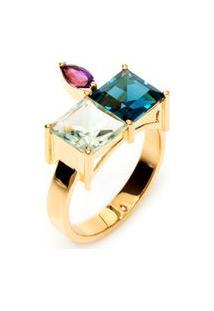 Anel Feminino Pedras Coloridas Em Ouro