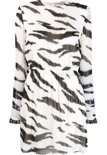 Philosophy Di Lorenzo Serafini Vestido Com Estampa De Zebra-Stripe - Branco
