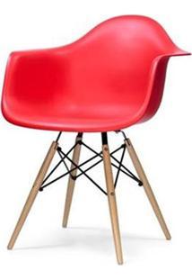 Cadeira Eames Com Braco Base Madeira Vermelho Fosco - 18185 Sun House