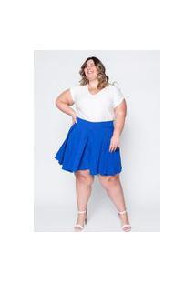 Shorts Saia Almaria Plus Size Kapsuli Pregas Azul