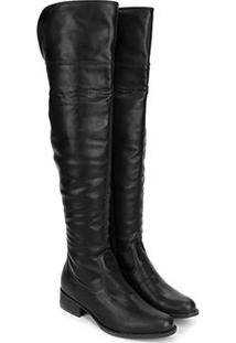 Bota Over The Knee Via Uno Lisa Feminina - Feminino-Preto