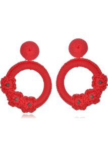 Brinco Le Diamond Liza Croch㪠Com 3 Flores Vermelho - Vermelho - Feminino - Dafiti