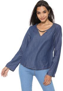 Blusa Jeans Cativa Recorte Azul