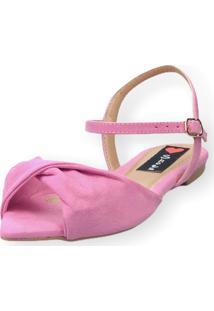 Sandália Rasteira Love Shoes Bico Folha Nó Torcido Rosa