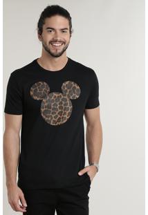 Camiseta Masculina Mickey Animal Print Manga Curta Gola Careca Preta