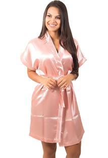 Robe Bella Fiore Modas De Cetim Liso Rosa