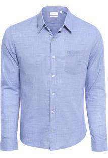 Camisa Masculina Slim Geneva Militar Com Bolso - Azul