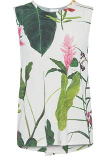 Regata Feminina Sleeveless Floral - Off White