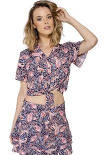 Camisa Cropped Com Amarração Handbook - Feminino-Rosa