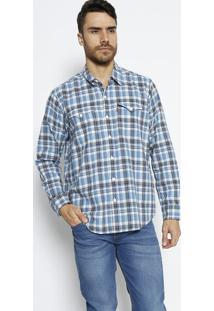 Camisa Xadrez Com Linho - Azul & Brancalevis