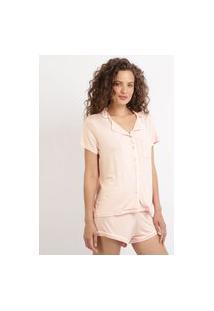 Pijama Feminino Com Bolso E Botões Manga Curta Rosa