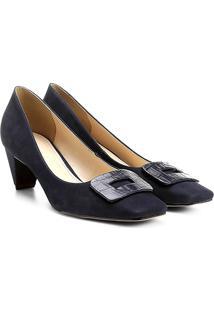 Scarpin Couro Shoestock Salto Médio Bico Quadrado Fivela Forrada - Feminino-Marinho
