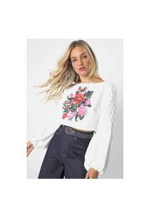 Blusa Cropped Lança Perfume Mangas Amplas Flores Off-White