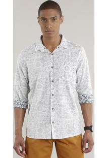 Camisa Estampada Paisley Off White