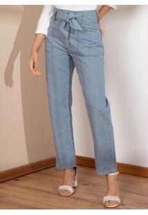 Calça Reta Jeans Sustentável Com Bolsos E Faixa