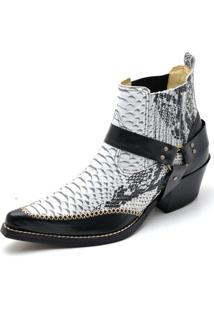 a45a5b62b9039 ... Bota Top Franca Shoes Country Bico Fino Anaconda Gelo
