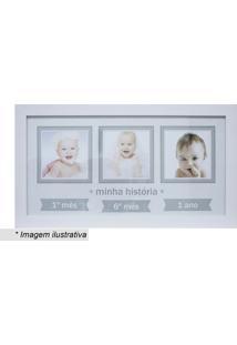 Painel Baby Decor Três Fotos- Branco & Cinza- 24X44Xkapos