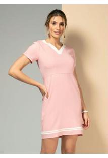 Vestido Rosê Com Gota Costas E Botão