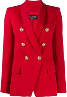 Balmain Double-Breasted Wool Blazer - Vermelho